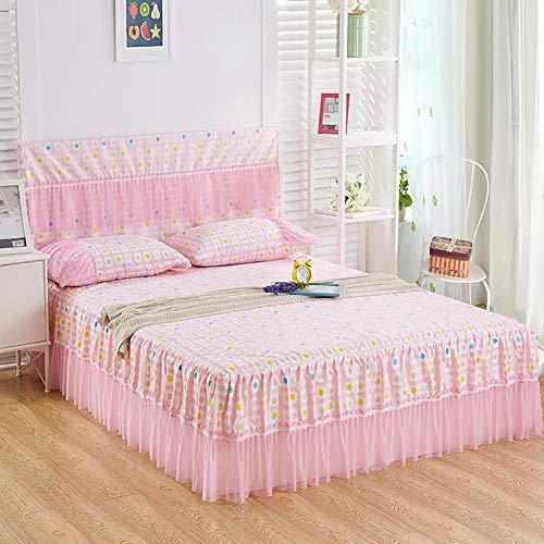 Maritown Rüschen Spitzenbett Rock, Prinzessin Floral ausgestattet einzelne Tagesdecke Mädchen Damen pastoralen Stil Bettlaken schicke Bettwäsche liefert - Tagesdecke Ausgestattet