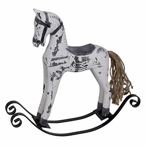 Schaukelpferd Deko Weihnachten Pferd weiß grau 25 x 24 cm Shabby Style