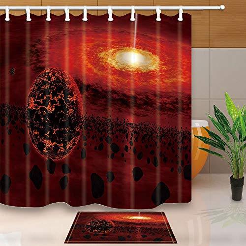 vrupi Duschvorhänge für den Außenraum mit Absenken von Hitze und Sonne, Aerolite Galaxie, 180,3 x 180,3 cm, schimmelresistentes Polyester-Gewebe Duschvorhang-Set mit 39,9 x 59,9 cm Flanell-Fußmatte