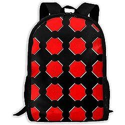 Lmtt Mochila Lunares Tablero de ajedrez Cuadrícula Rojo Negro Mochila Casual Bolsa de Viaje para Adolescentes Niños Niñas