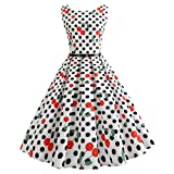 Vectry Kleider Damen 1950er Vintage Polka Dots Pinup Retro Rockabilly Kleid Cocktailkleider Sommer Jumpsuit Kurz Ballkleid Kleiderbügel Damenkleider Kurz