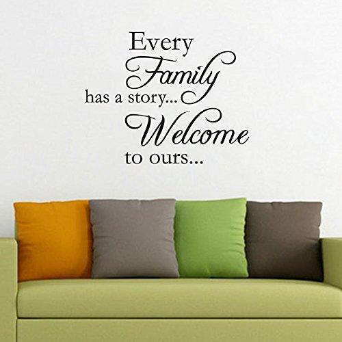Ogni famiglia ha un Story...Welcome A noi-Adesivi, tema frasi e citazioni in vinile Décor-Decalcomania Wall Art