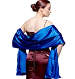 atopdress@200cmx 75cm soft satin Bridesmaid Bridal Bridesmaid Shawl Prom Wrap Draping Stole (200x 75cm, Royal blue)