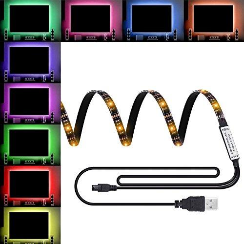 COSKIP Striscia LED TV RGB 5050 Impermeabile con Cavo usb per TV e Monitor PC,Schermo LCD, Laptop ecc,per Natale,Feste,Decorazioni.
