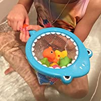 YLucky Best Bathtub Toys Shark Fishing Games with Floating Fish, Turtle, Starfish and Dolphin,Swimming Water Squeeze Toys Fish Net Game in Bathtub Bathroom Pool Bath Time for Toddlers Kids Boys Girls