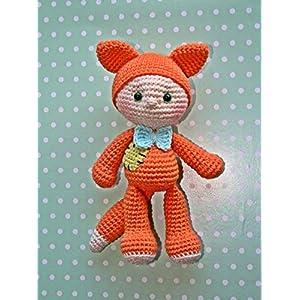 Häkeltier Baby Fuchs orange aus Baumwolle handmade