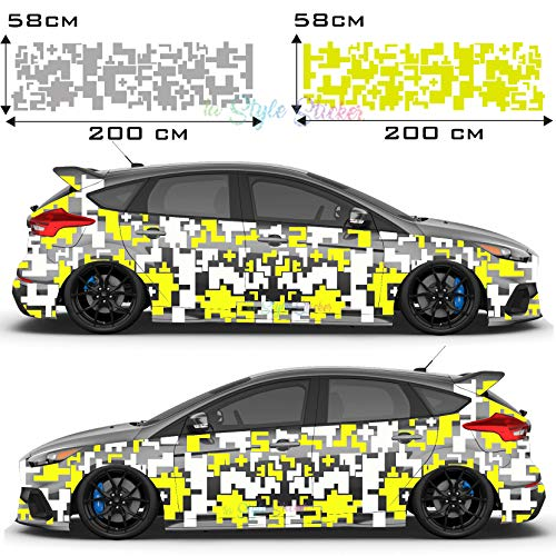 Auto Seitenaufkleber Pixel, Matrix, Hexagon Set Sticker Camouflage 70 Teiliges Set - 2 Farbig