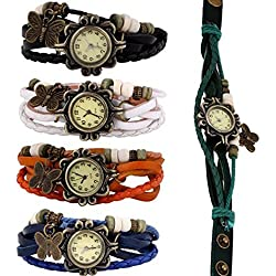 Tonsee Lot of 5pcs Womens Girls Butterfly Bracelet Dress Wrist Watches