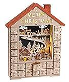 Adventskalender Holz mit Beleuchtung (15329w) mit Weihnachtsdorf und Winterszene