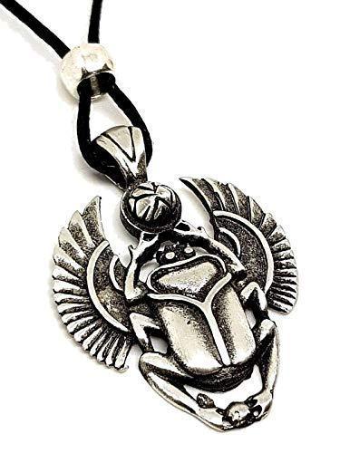 Eclectic Shop UK Escarabajo Escarabajo Colgante Egipcio Symbol Of Larga Vida con Cuentas Cuerda Collar - Hecho de Níquel-libre Peltre - Colgante Mide Alrededor 4.0cm By 3.0cm (40mm X 30mm) Aprox - Viene en Ajustable Negro Cuerda Corbata Uusted Mismo ...