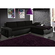 JUSThome Picanto Mini Sofá esquinero chaise longue función de cama Tejido / Cuero sintético Tamaño 263x173x85 cm 1114 Negro / L-15 Brazo derecho