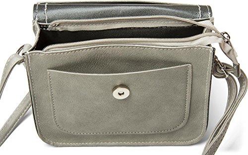 styleBREAKER kleine Umhängetasche mit Feder Applikation am Überschlag, Schultertasche, Tasche, Damen 02012151, Farbe:Hellgrau Braun