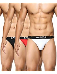 BASIICS by La Intimo Men's Black, Red, White Prime Thong (Pack of 3)
