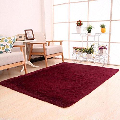 Preisvergleich Produktbild Boden Teppich Fluffy, yuyoug flauschig Teppiche rutschsicheren Shaggy Bereich Teppich Esszimmer Home Schlafzimmer Super Weich Warm seidig Teppich Fußmatte–-- 50x 80cm/50x 80cm, rot, Einheitsgröße