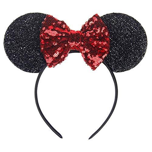 Inception pro infinite Schwarzes Stirnband mit Pailletten Minnie Mouse roter Schleife - Halloween Maskerade Zubehör Cosplay Mädchen