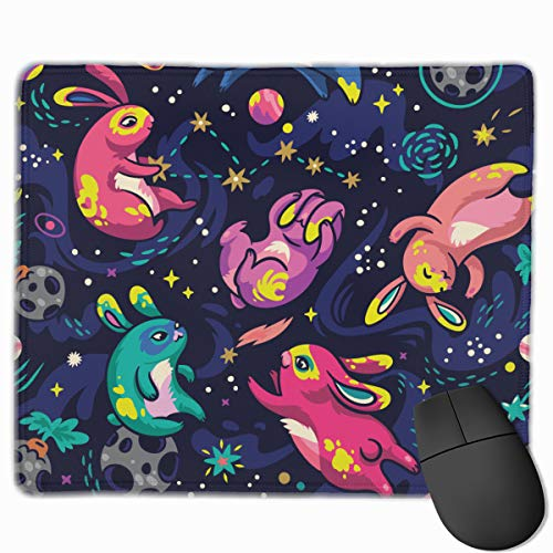 Moon Bunnies Exploring Space Animals Wildlife Mousepad Non-Slip Rubber Gaming Mouse Pad Rectangle Mouse Pads for Computers Laptop 11.8X9.8 Inch