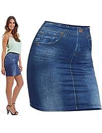 32c55f60e78 TrAdE shop Traesio- Falda Elástico Slim Skirt Efecto Jeans para moldear  dimagrante Tag. única