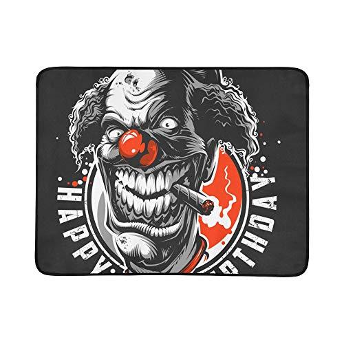 Bösen Charakter Kostüm - SHAOKAO Böse furchtsame Clown Monster Muster tragbare und Faltbare Deckenmatte 60x78 Zoll handliche Matte für Camping Picknick Strand Indoor Outdoor Reise