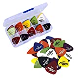 Plektren Gitarren Picks, 50 Guitar Pick Set hochwertige Plektren für Gitarre in edler Box, Celluloid Gitarren Plektren Gitarren Picks for Kids,Girls,Beginner, Celluloid Pick for Electric,Acoustic