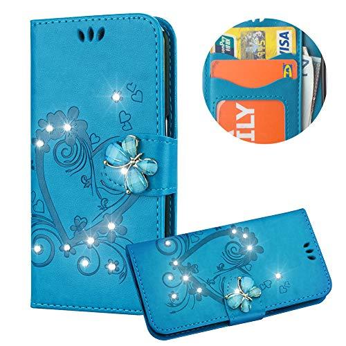 r iPod Touch 5,Strass Handyhülle für iPod Touch 6,Moiky Luxus Liebe Herze Muster 3D Schmetterling Dekor Magnetisch Kunstleder Stoßdämpfende Handytasche mit TPU ()