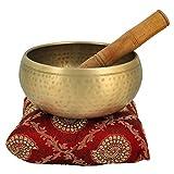 5 pollici campana di metallo buddisti tibetani canto strumento musicale Ciotola per la meditazione con bastone e Cuscino - Qualità Superiore
