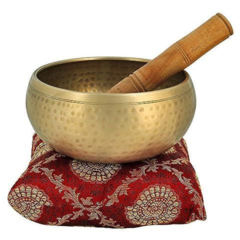 5 pouces métal de cloche du bouddhisme tibétain bol chantant Instrument de musique pour la méditation avec Stick et Coussin - Qualité Supérieure