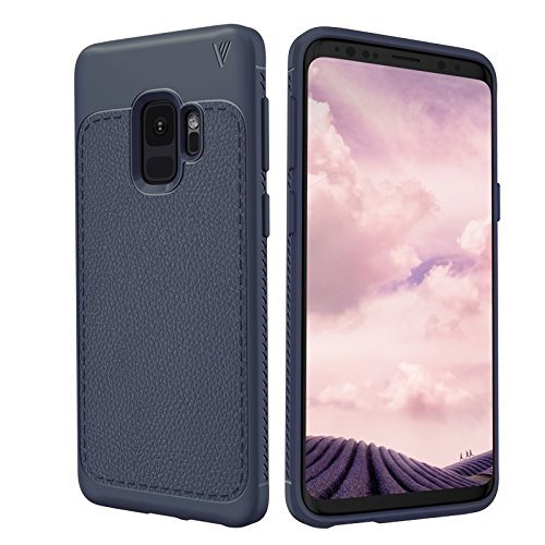 Gray Plaid Coque Samsung Galaxy S9, [Shock Absorption] TPU Cuir Back Case Cover, Housse Etui de Protection Haut de Gamme pour Silicone Samsung Galaxy S9 - Bleu