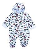 Baby Schneeanzug All-in-One weich Baumwolle Jersey Baby Jungen und Baby Mädchen Neugeborenes 0-3 Monate 3-6 Monate - blau Fahrzeuge, 0-3 Monate