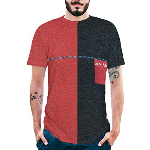 JMETRIC_T-Shirt Herren Zweifarbige Nähte Brusttasche Zurück Brief drucken Kurzarm T-Shirt Kurze Ärmel Hemd Kurzarm Tops(Rot,2XL)