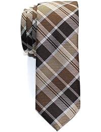 Retreez Cravate Fine Slim moderne tissée en tartan pour homme 491249aaaf2