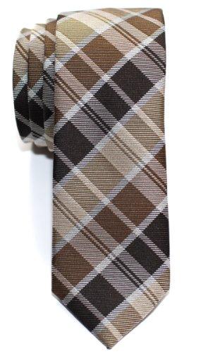 Retreez Cravate Fine Slim moderne tissée en tartan pour homme - Marro