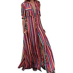 JYC Verano Falda Larga,Vestido De La Camiseta Encaje,Vestido Elegante Casual,Vestido Fiesta Mujer Largo Boda, Mitad Manga A Rayas Suelto Botón Bohe Playa Túnica Vestir (S