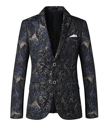 Ouye Herren Slim Fit 2 Button Anzugjacke Freizeit Jacket Sakko Blazer Navy Blau