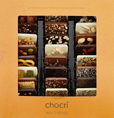 """chocri """"Weltreise"""" - 24 Schokoladen-Täfelchen in einer Geschenkbox - handbestreut mit Zutaten aus verschiedenen Regionen der Welt - Fairtrade-Kakao - perfektes Geschenk für Frauen und Männer, für die Mama und für die Eltern, zur Hochzeit oder zum Geburtstag - 165g"""