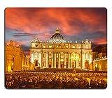 Cojín de ratón de Goma Natural Basilica di San Pietro contra Colorido Atardecer en el Vaticano Roma Italia M0A02770