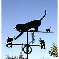 SvenskaV - Banderuola in acciaio, motivo: gatto e topo, misura grande, 100 cm, colore: Nero