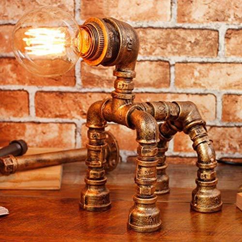 LXD Moderne und schöne dekorative Tischlampe, Retro Industrie Wind Eisen Kunst Wasser Rohr Lampe Schlafzimmer Nacht Wohnzimmer Cafe Art Deco Dimmen Schreibtisch Lampe Leselampe E27,Messing - Art-deco-messing-tisch