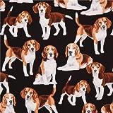 Schwarzer süßer Beagle Hund Tier Stoff von Timeless