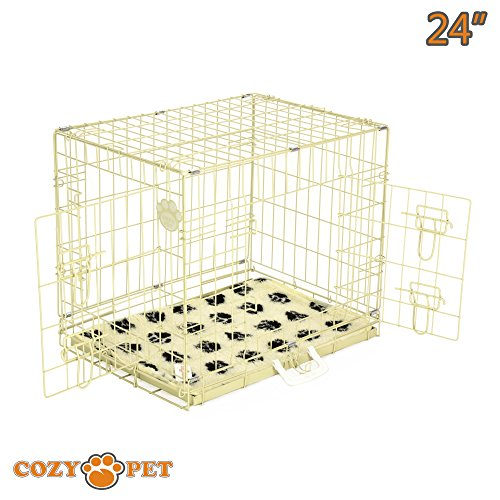 cozy-pet-dog-cage-24-beige-with-tailored-vet-bedding-high-quality-metal-tray-folding-puppy-crate-cat
