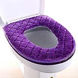 FOOBRTOPOO Dicker Reißverschluss Toilettensitzbezug für Toilettendeckel, warm, Toilettensitz-Matte (grau), Plüsch, violett, Approx.37x43cm