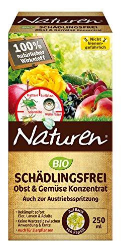 Naturen Schädlingsfrei Obst- & Gemüse Konzentrat, Natürliches Mittel gegen saugende Schädlinge wie Blattlaus, Spinnmilbe, Weiße Fliege, Gallmilben, Schildläuse und Wollläuse, 250ml Flasche