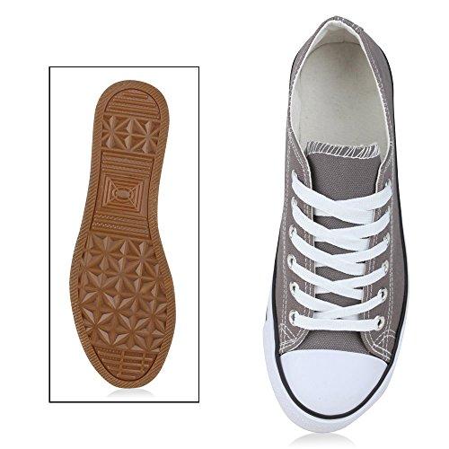 Trendige Unisex Sneakers | Low-Cut Modell | Basic Freizeit Schuhe | Viele Farben | Gr. 36-45 Grau Grigio