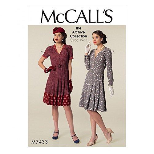 McCall's 7433 Robes et ceinture style vintage patron de couture pour femmes