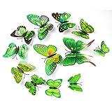 kingko 12pcs 3D Schmetterlinge Wandsticker Aufkleber Wand-Deko Home Dekore (Grün)