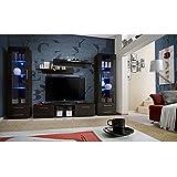 JUSThome GULINO C Muebles de salón comedor Modulo de pared Tamaño: 190x340x45 cm Wengué Mat