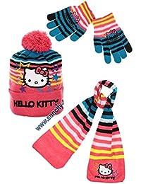 Schal, Mütze und Handschuhe Kinder Mädchen Hello Kitty gestreift rosa von 3bis 9Jahre