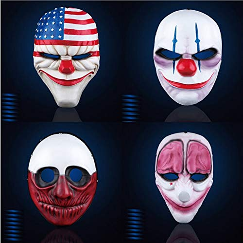 WSJDE Payday 2 Maske The Heist Dallas/Wolf/Ketten/Hoxton Cosplay Halloween Horror Kettensäge Clown Maske Maskenade - Schwarze Katze Kostüm Party Stadt