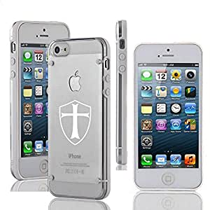 Coque Rigide en TPU pour Apple iPhone 4 4S Ultra Mince Transparent Templier Bouclier Chevalier de Croix (Blanc)