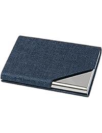 TRIXES Porte-cartes de Visite Professionnel Bleu avec Élégante Finition Simili Cuir