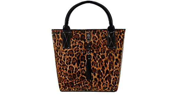 91cd773554a4 Love Moschino Leopard Print Patent Carryall Shoulder Bag: Amazon.co.uk:  Clothing